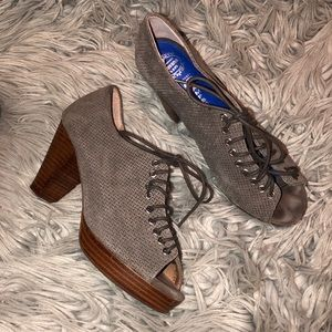 Jeffrey Campbell suede peep toe lace up oxfords